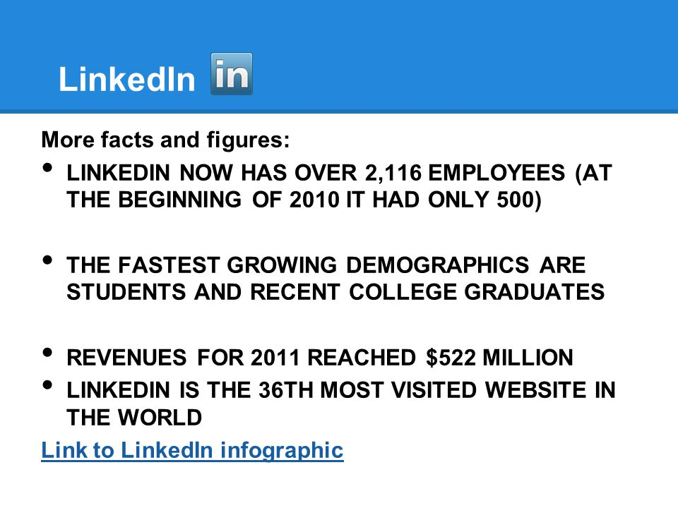 LinkedIn More facts and figures: LINKEDIN NOW HAS OVER 2,116 EMPLOYEES (AT THE BEGINNING OF 2010 IT HAD ONLY 500) THE FASTEST GROWING DEMOGRAPHICS ARE STUDENTS AND RECENT COLLEGE GRADUATES REVENUES FOR 2011 REACHED $522 MILLION LINKEDIN IS THE 36TH MOST VISITED WEBSITE IN THE WORLD Link to LinkedIn infographic