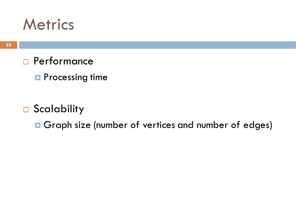 Metrics 35  Performance  Processing time  Scalability  Graph size (number of vertices and number of edges)