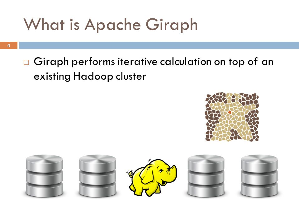 What is Apache Giraph 4  Giraph performs iterative calculation on top of an existing Hadoop cluster