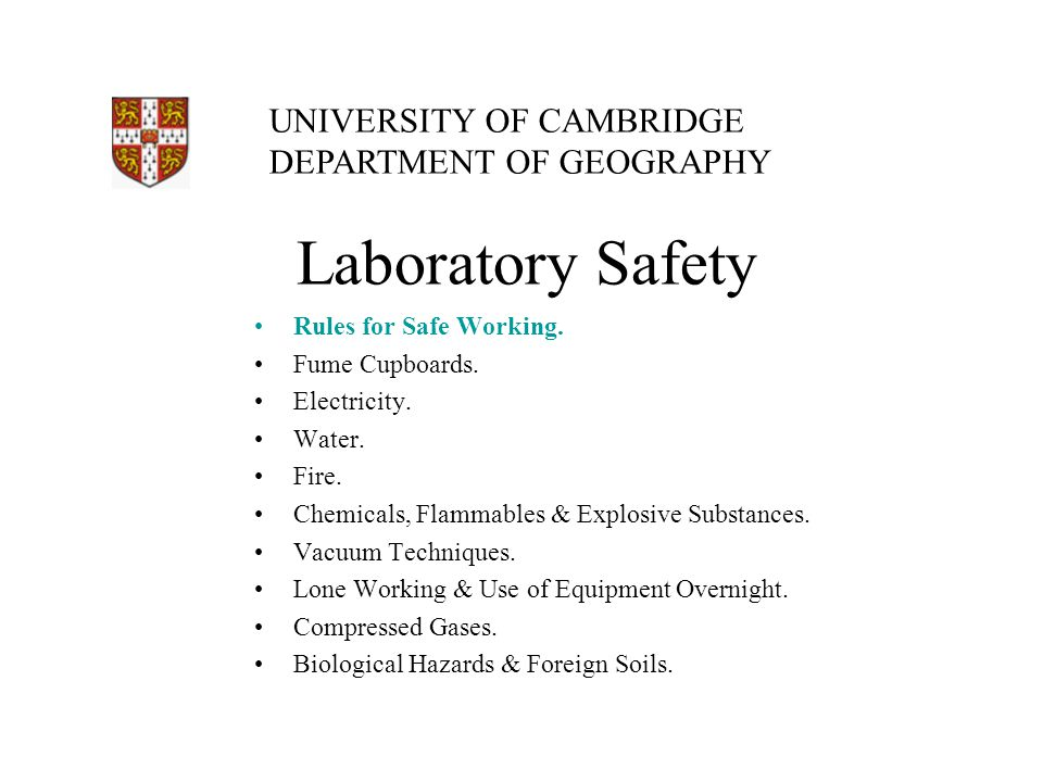 Laboratory Safety Rules for Safe Working. Fume Cupboards.