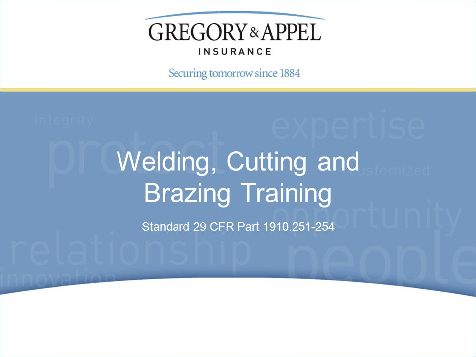 Standard 29 CFR Part Welding, Cutting and Brazing Training