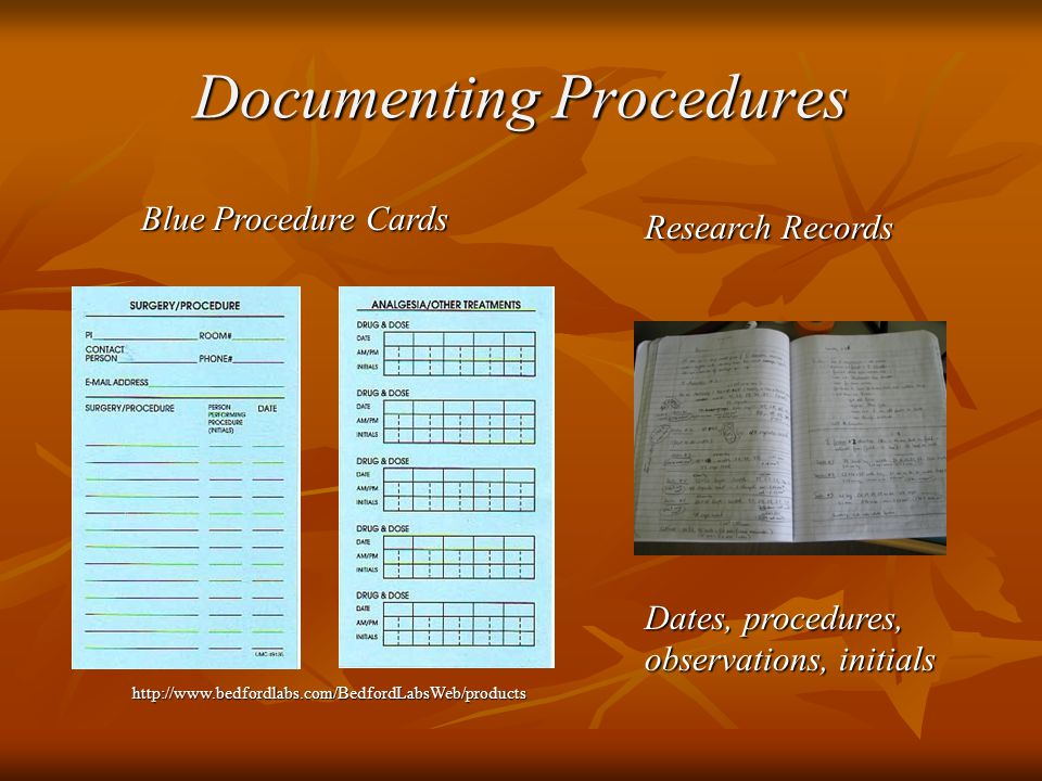 Documenting Procedures Blue Procedure Cards Research Records   Dates, procedures, observations, initials