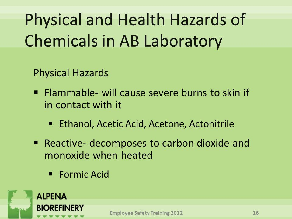Physical Hazards  Flammable- will cause severe burns to skin if in contact with it  Ethanol, Acetic Acid, Acetone, Actonitrile  Reactive- decomposes to carbon dioxide and monoxide when heated  Formic Acid Employee Safety Training