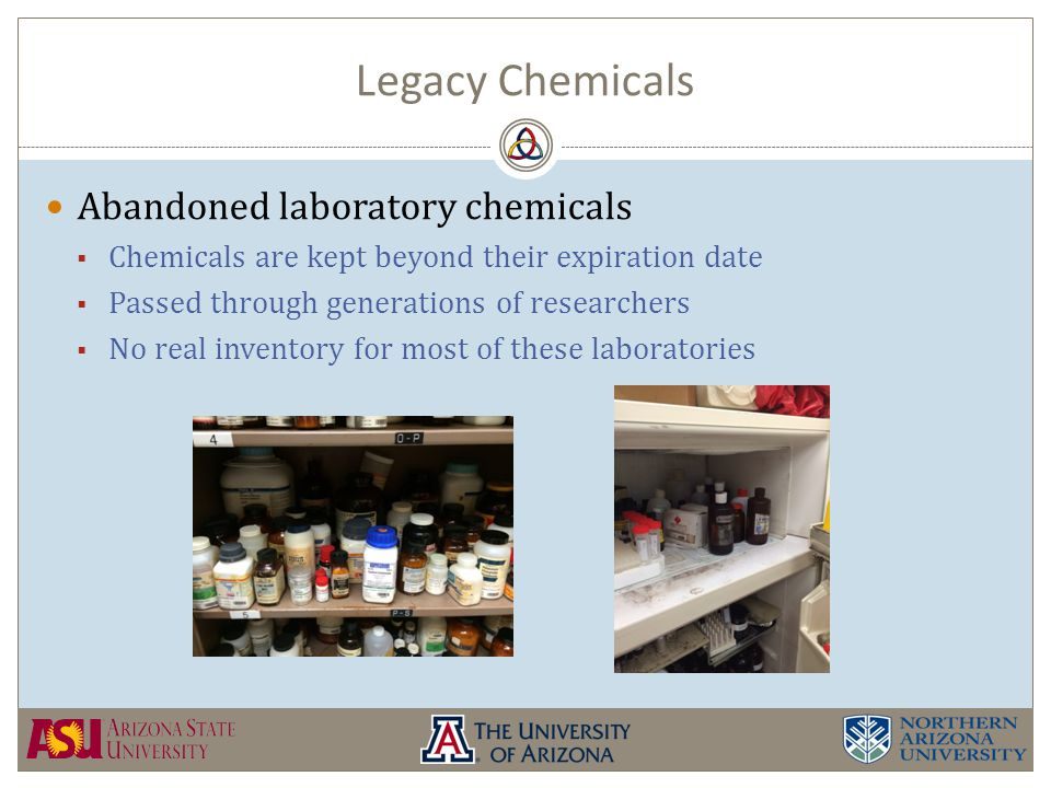 Legacy Chemicals Abandoned laboratory chemicals  Chemicals are kept beyond their expiration date  Passed through generations of researchers  No real inventory for most of these laboratories