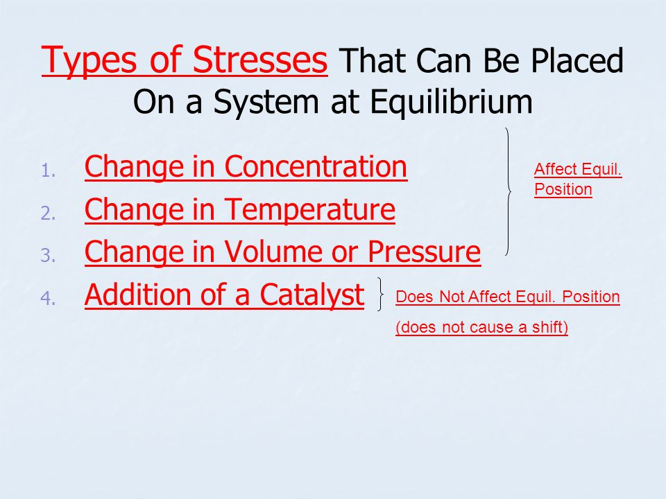 Types of Stresses That Can Be Placed On a System at Equilibrium 1.