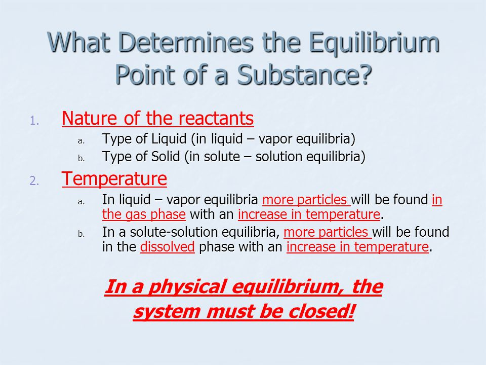 What Determines the Equilibrium Point of a Substance.