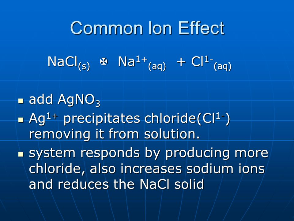 Common Ion Effect NaCl (s)  Na 1+ (aq) + Cl 1- (aq) add AgNO 3 add AgNO 3 Ag 1+ precipitates chloride(Cl 1- ) removing it from solution.