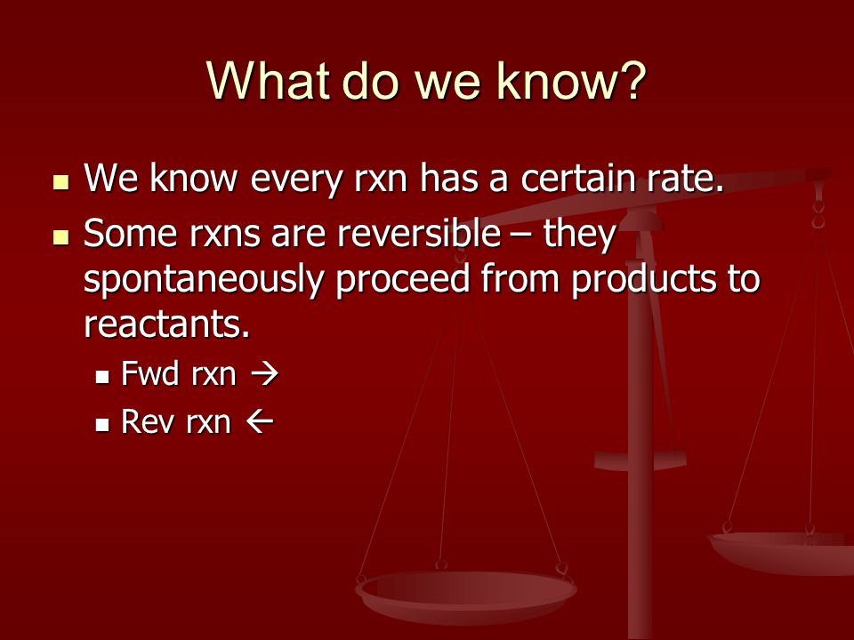 What do we know. We know every rxn has a certain rate.