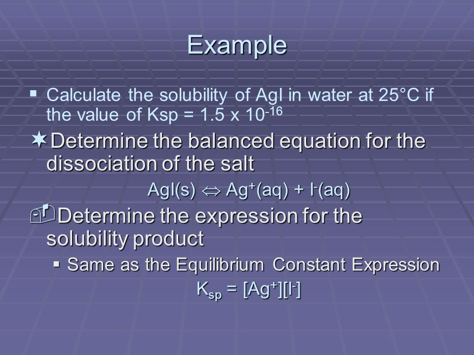 Example   Calculate the solubility of AgI in water at 25°C if the value of Ksp = 1.5 x ¬ Determine the balanced equation for the dissociation of the salt AgI(s)  Ag + (aq) + I - (aq) ­ Determine the expression for the solubility product  Same as the Equilibrium Constant Expression K sp = [Ag + ][I - ]