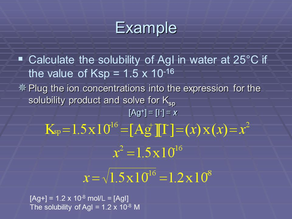 Example   Calculate the solubility of AgI in water at 25°C if the value of Ksp = 1.5 x ¯ Plug the ion concentrations into the expression for the solubility product and solve for K sp [Ag + ] = [I - ] = x [Ag+] = 1.2 x mol/L = [AgI] The solubility of AgI = 1.2 x M