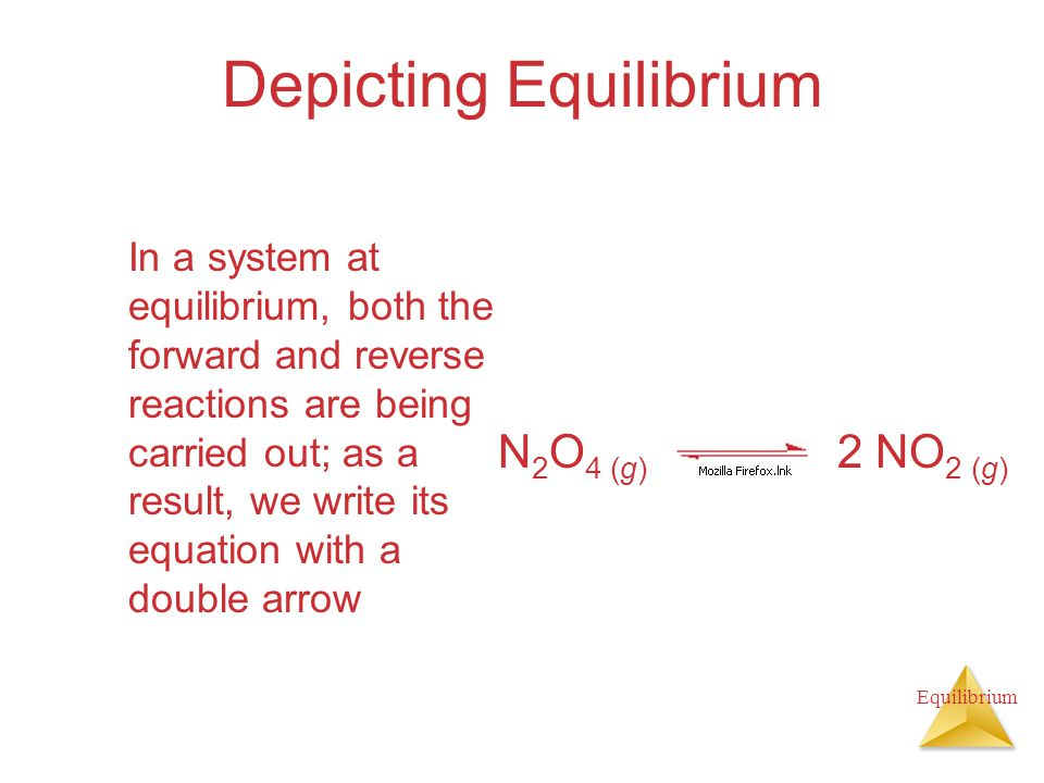 Equilibrium Depicting Equilibrium In a system at equilibrium, both the forward and reverse reactions are being carried out; as a result, we write its equation with a double arrow N 2 O 4 (g) 2 NO 2 (g)