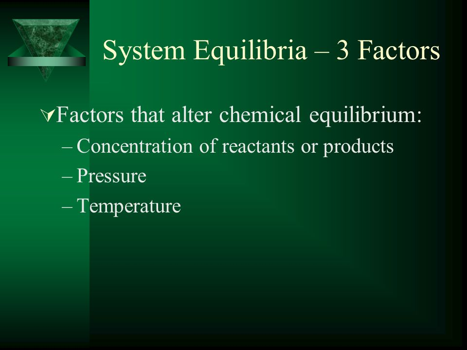 System Equilibria – 3 Factors  Factors that alter chemical equilibrium: –Concentration of reactants or products –Pressure –Temperature