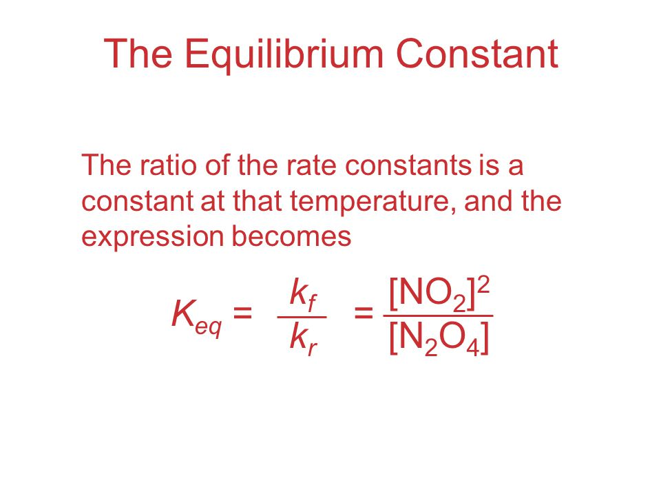 The Equilibrium Constant The ratio of the rate constants is a constant at that temperature, and the expression becomes K eq = kfkrkfkr [NO 2 ] 2 [N 2 O 4 ] =
