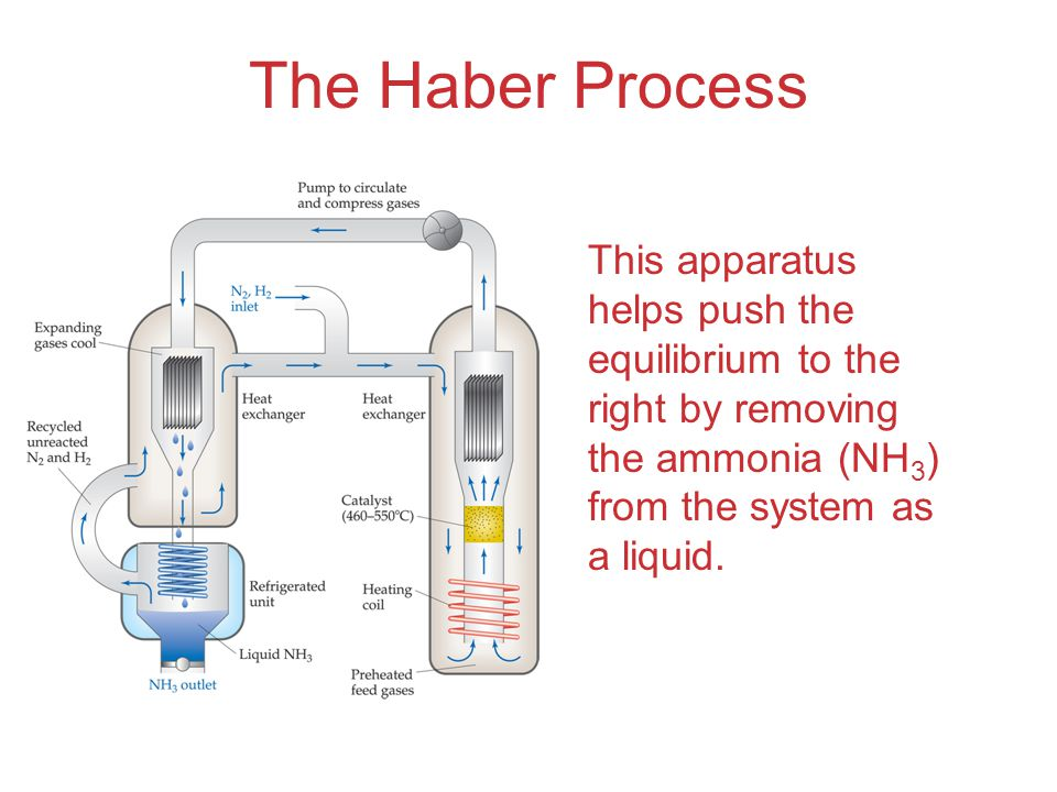 The Haber Process This apparatus helps push the equilibrium to the right by removing the ammonia (NH 3 ) from the system as a liquid.