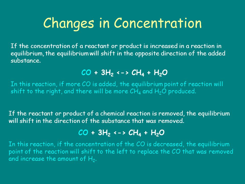 Changes in Concentration If the concentration of a reactant or product is increased in a reaction in equilibrium, the equilibrium will shift in the opposite direction of the added substance.