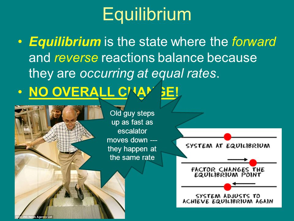 Equilibrium Equilibrium is the state where the forward and reverse reactions balance because they are occurring at equal rates.