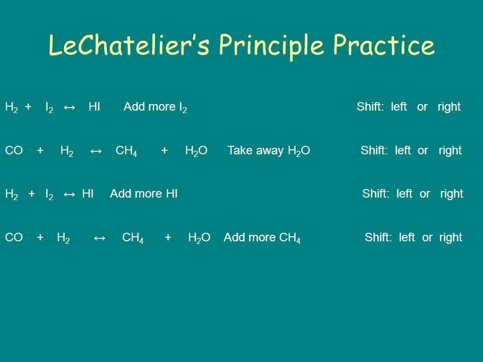 LeChatelier's Principle Practice H 2 + I 2 ↔ HI Add more I 2 Shift: left or right CO + H 2 ↔ CH 4 + H 2 O Take away H 2 O Shift: left or right H 2 + I 2 ↔ HI Add more HI Shift: left or right CO + H 2 ↔ CH 4 + H 2 O Add more CH 4 Shift: left or right