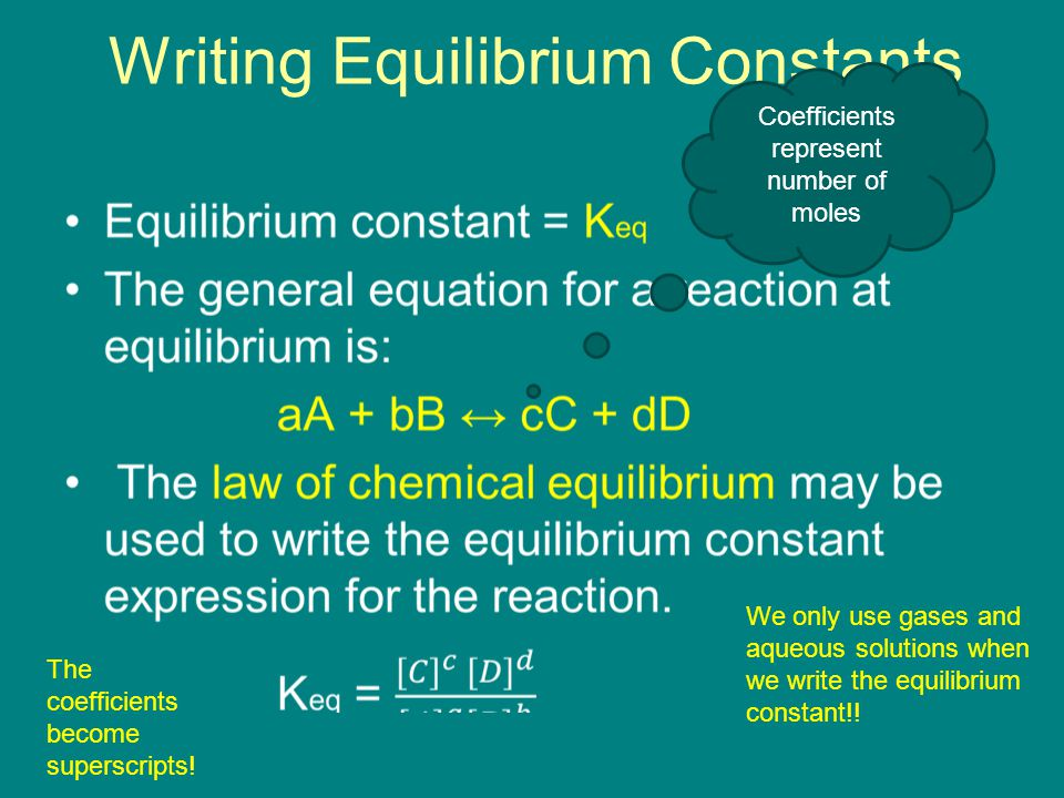 Writing Equilibrium Constants We only use gases and aqueous solutions when we write the equilibrium constant!.