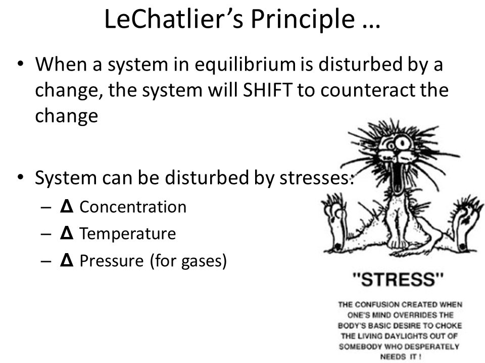 LeChatlier's Principle … When a system in equilibrium is disturbed by a change, the system will SHIFT to counteract the change System can be disturbed by stresses: – Δ Concentration – Δ Temperature – Δ Pressure (for gases)
