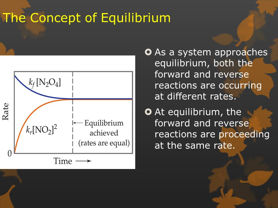 The Concept of Equilibrium  As a system approaches equilibrium, both the forward and reverse reactions are occurring at different rates.