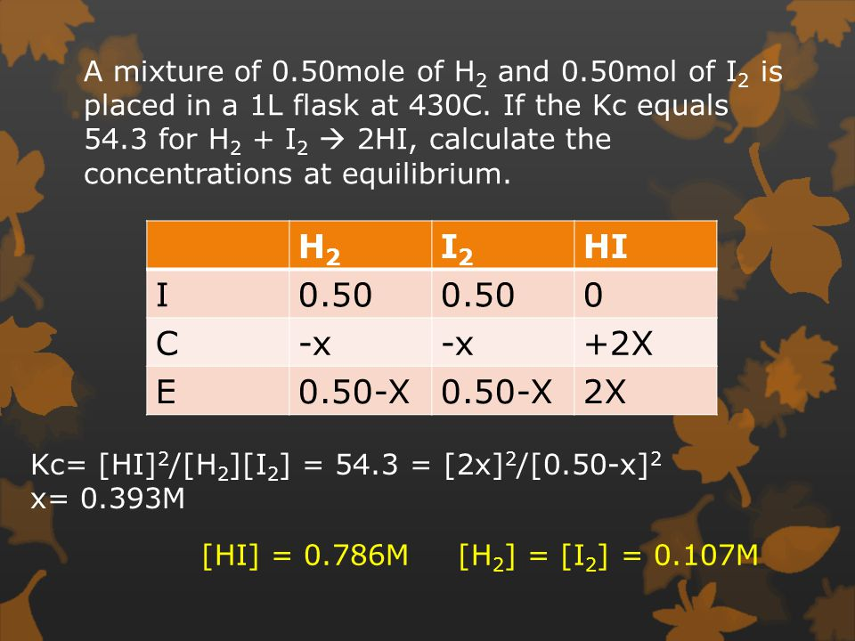 A mixture of 0.50mole of H 2 and 0.50mol of I 2 is placed in a 1L flask at 430C.