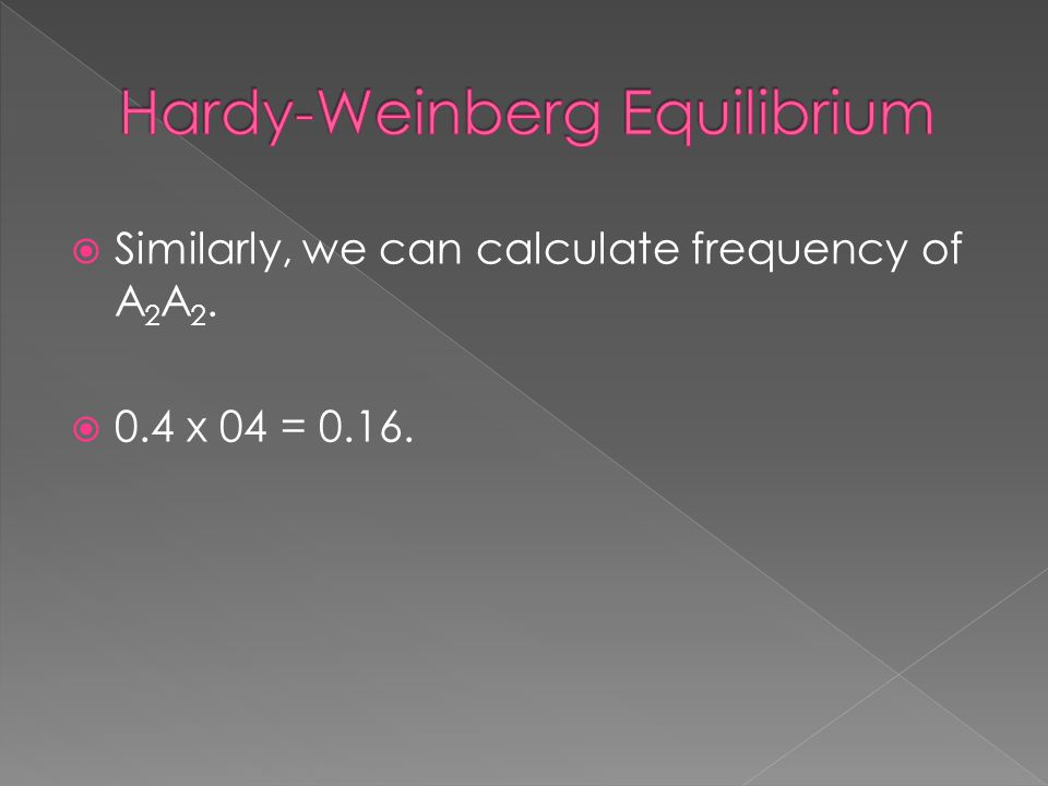  Similarly, we can calculate frequency of A 2 A 2.  0.4 x 04 = 0.16.