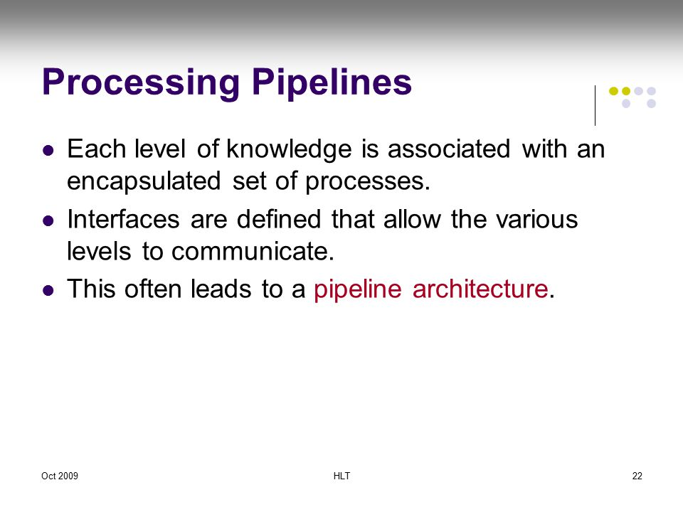 Oct 2009HLT22 Processing Pipelines Each level of knowledge is associated with an encapsulated set of processes.