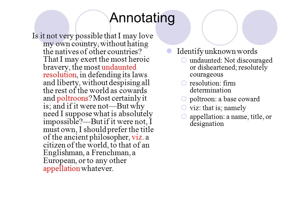 Annotating Is it not very possible that I may love my own country, without hating the natives of other countries.