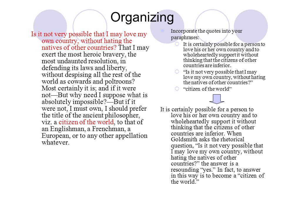 Organizing Is it not very possible that I may love my own country, without hating the natives of other countries.