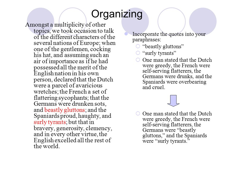 Organizing Amongst a multiplicity of other topics, we took occasion to talk of the different characters of the several nations of Europe; when one of the gentlemen, cocking his hat, and assuming such an air of importance as if he had possessed all the merit of the English nation in his own person, declared that the Dutch were a parcel of avaricious wretches; the French a set of flattering sycophants; that the Germans were drunken sots, and beastly gluttons; and the Spaniards proud, haughty, and surly tyrants; but that in bravery, generosity, clemency, and in every other virtue, the English excelled all the rest of the world.