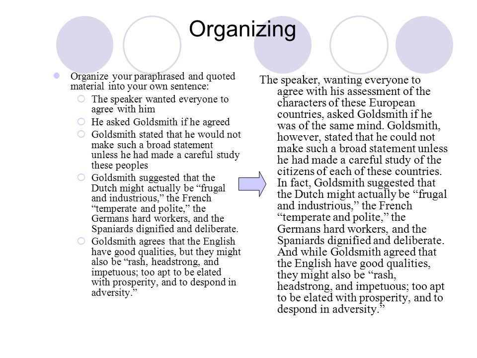 Organizing Organize your paraphrased and quoted material into your own sentence:  The speaker wanted everyone to agree with him  He asked Goldsmith if he agreed  Goldsmith stated that he would not make such a broad statement unless he had made a careful study these peoples  Goldsmith suggested that the Dutch might actually be frugal and industrious, the French temperate and polite, the Germans hard workers, and the Spaniards dignified and deliberate.