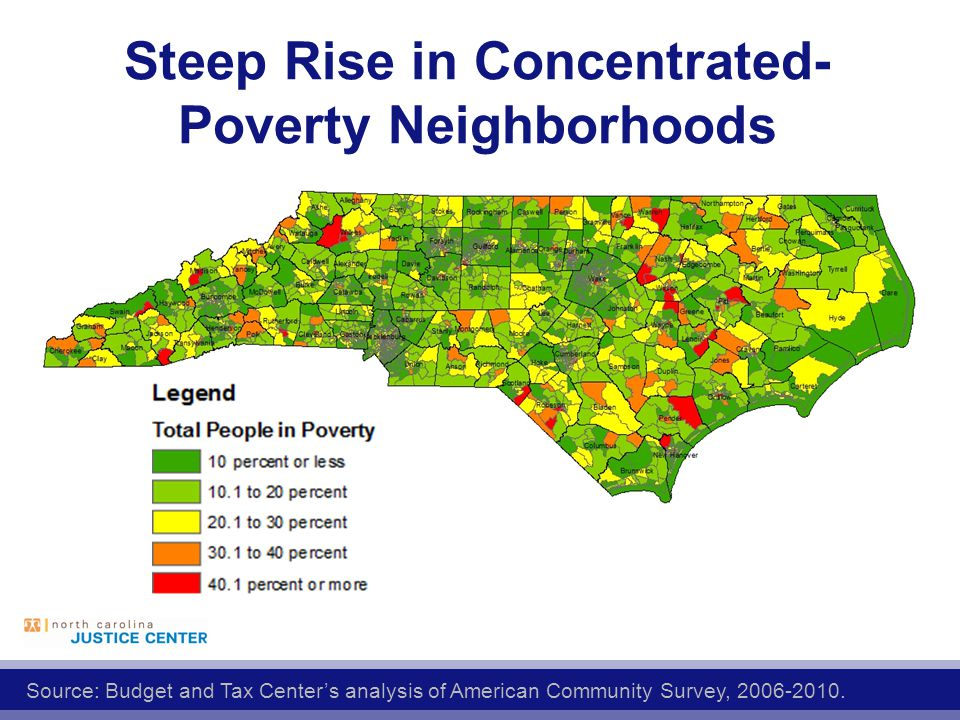 Steep Rise in Concentrated- Poverty Neighborhoods Source: Budget and Tax Center's analysis of American Community Survey,