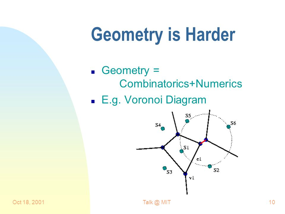 Oct 18, MIT10 Geometry is Harder n Geometry = Combinatorics+Numerics n E.g.