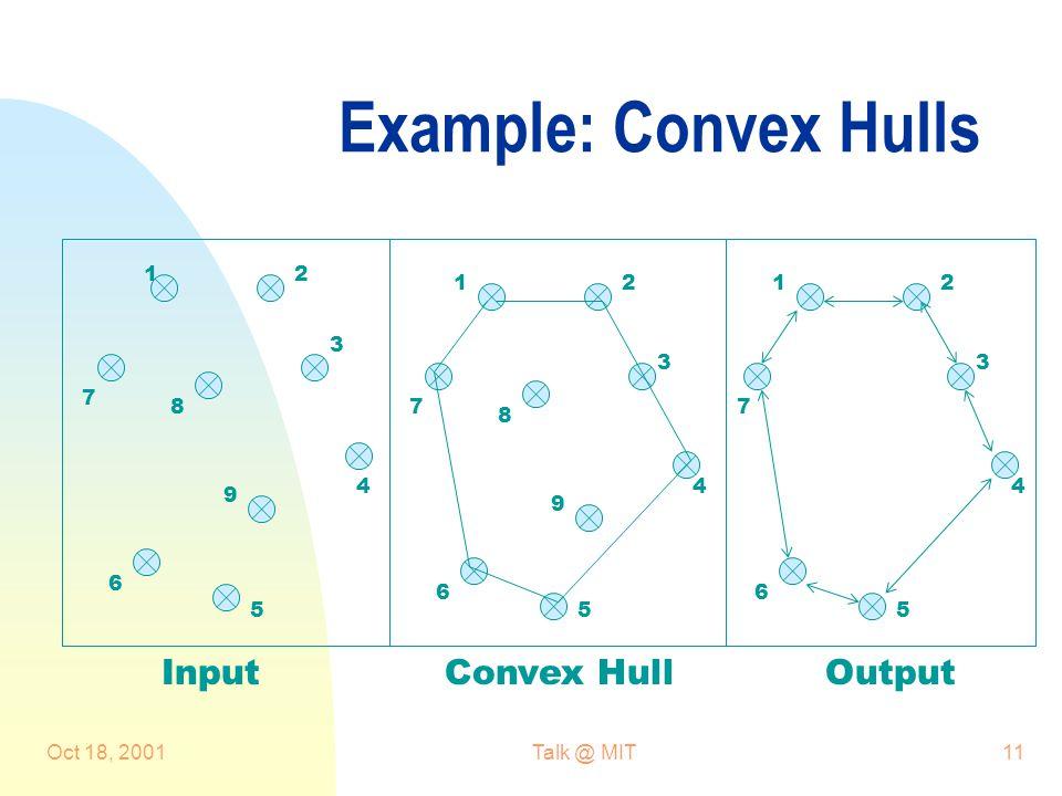 Oct 18, 2001Talk @ MIT11 Example: Convex Hulls 21 21 3 3 44 55 6 6 7 78 8 9 9 InputConvex HullOutput 21 3 4 5 6 7