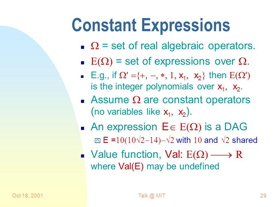 Oct 18, 2001Talk @ MIT29 Constant Expressions n  = set of real algebraic operators.