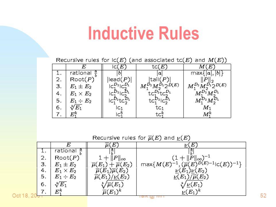 Oct 18, 2001Talk @ MIT52 Inductive Rules