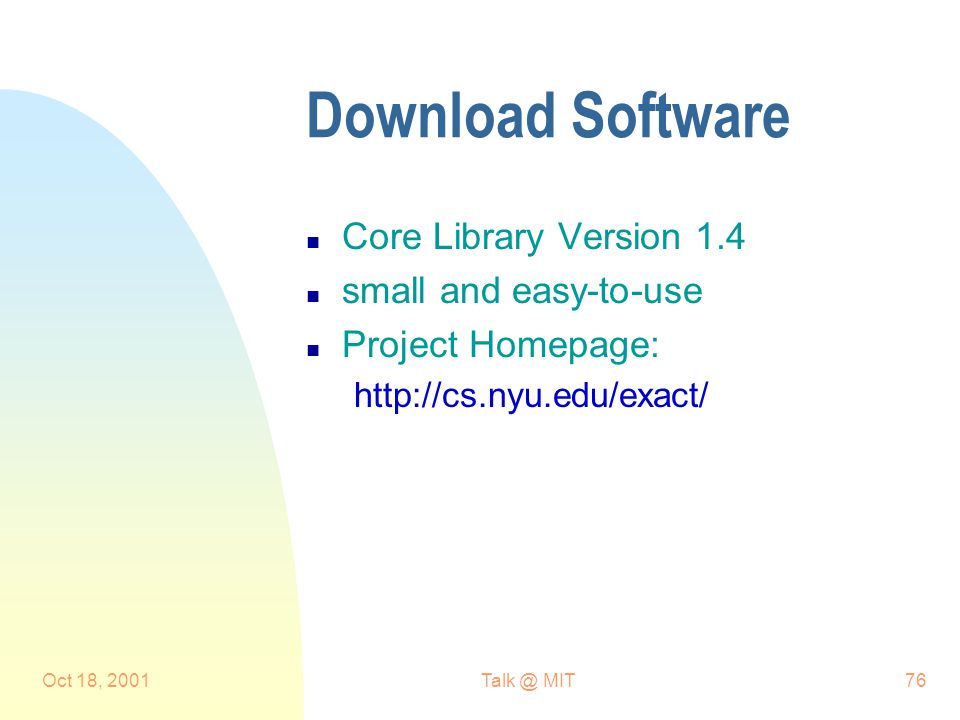 Oct 18, MIT76 Download Software n Core Library Version 1.4 n small and easy-to-use n Project Homepage: