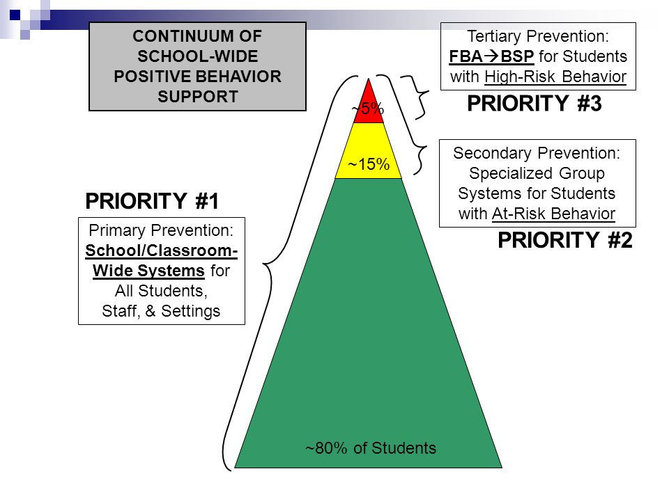 Primary Prevention: School/Classroom- Wide Systems for All Students, Staff, & Settings Secondary Prevention: Specialized Group Systems for Students with At-Risk Behavior Tertiary Prevention: FBA  BSP for Students with High-Risk Behavior ~80% of Students ~15% ~5% CONTINUUM OF SCHOOL-WIDE POSITIVE BEHAVIOR SUPPORT PRIORITY #1 PRIORITY #2 PRIORITY #3