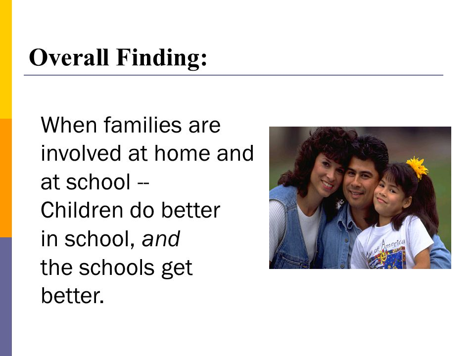 When families are involved at home and at school -- Children do better in school, and the schools get better.
