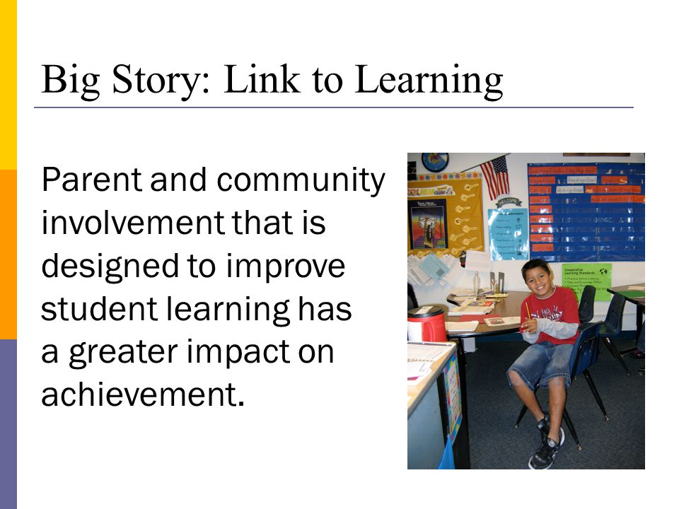 Parent and community involvement that is designed to improve student learning has a greater impact on achievement.