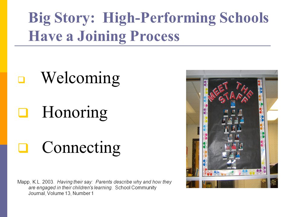 Big Story: High-Performing Schools Have a Joining Process  Welcoming  Honoring  Connecting Mapp, K.L.