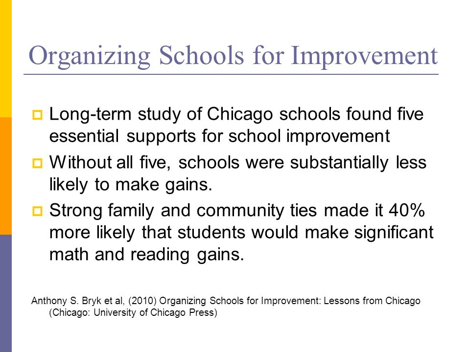 Organizing Schools for Improvement  Long-term study of Chicago schools found five essential supports for school improvement  Without all five, schools were substantially less likely to make gains.