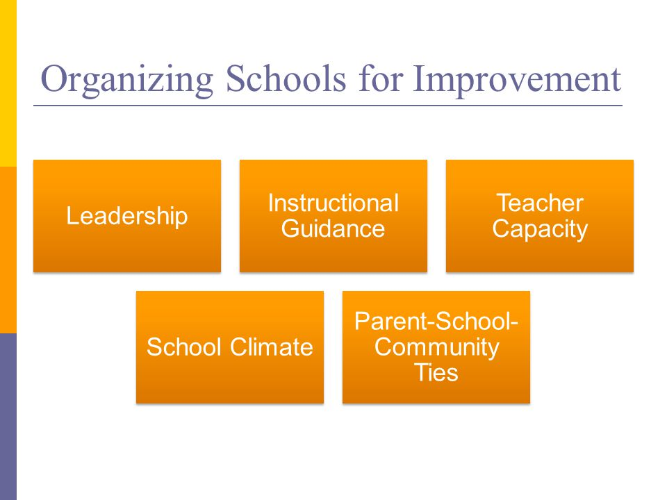 Organizing Schools for Improvement Leadership Instructional Guidance Teacher Capacity School Climate Parent-School- Community Ties