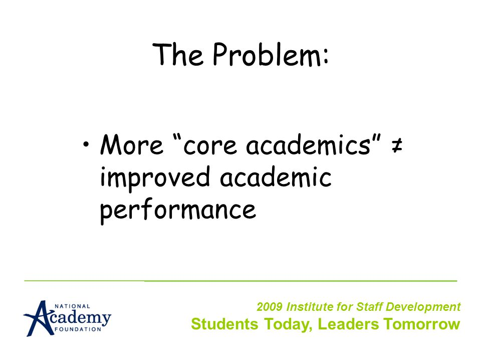 The Problem: More core academics ≠ improved academic performance 2009 Institute for Staff Development Students Today, Leaders Tomorrow