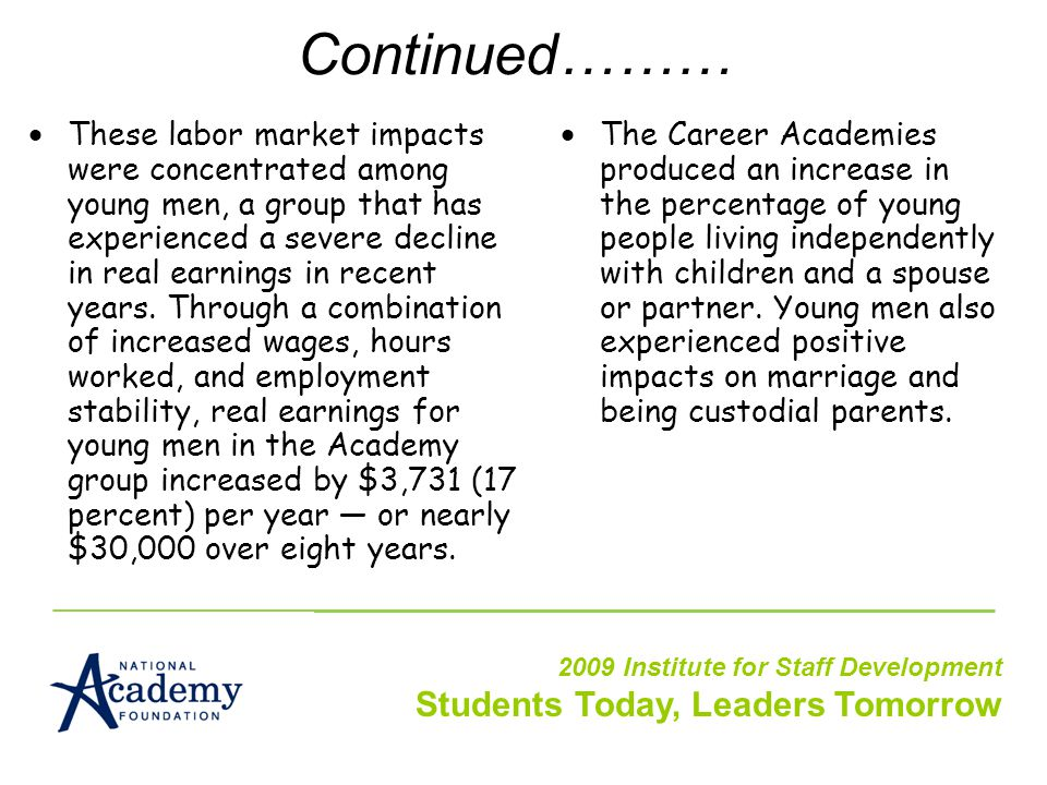 Continued………  These labor market impacts were concentrated among young men, a group that has experienced a severe decline in real earnings in recent years.