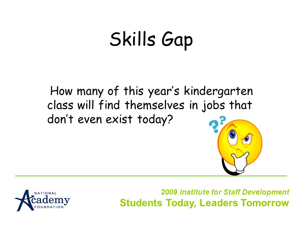 Skills Gap How many of this year's kindergarten class will find themselves in jobs that don't even exist today.