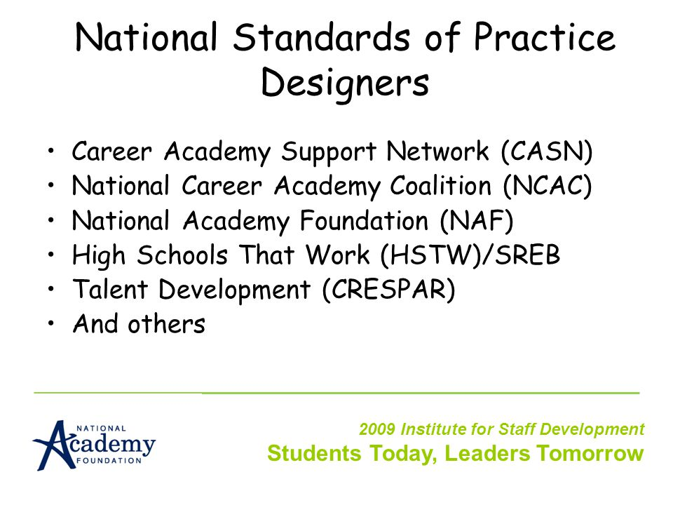 National Standards of Practice Designers Career Academy Support Network (CASN) National Career Academy Coalition (NCAC) National Academy Foundation (NAF) High Schools That Work (HSTW)/SREB Talent Development (CRESPAR) And others 2009 Institute for Staff Development Students Today, Leaders Tomorrow