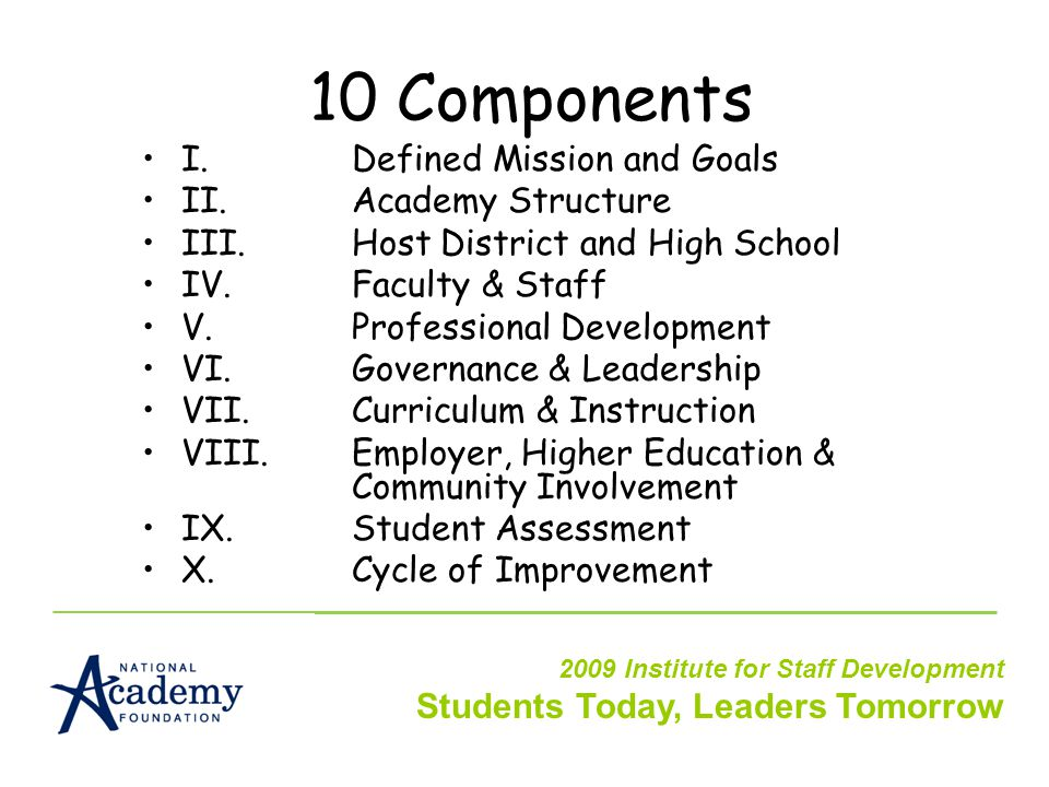 10 Components I.Defined Mission and Goals II.Academy Structure III.Host District and High School IV.Faculty & Staff V.Professional Development VI.Governance & Leadership VII.Curriculum & Instruction VIII.Employer, Higher Education & Community Involvement IX.Student Assessment X.Cycle of Improvement 2009 Institute for Staff Development Students Today, Leaders Tomorrow
