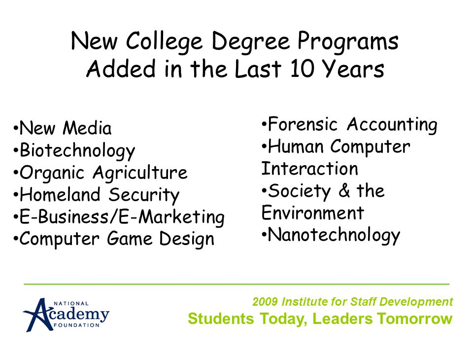New College Degree Programs Added in the Last 10 Years New Media Biotechnology Organic Agriculture Homeland Security E-Business/E-Marketing Computer Game Design Forensic Accounting Human Computer Interaction Society & the Environment Nanotechnology