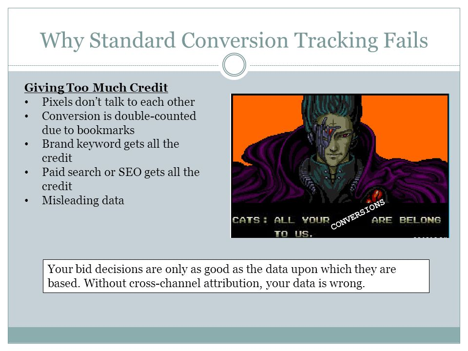 Why Standard Conversion Tracking Fails Giving Too Much Credit Pixels don't talk to each other Conversion is double-counted due to bookmarks Brand keyword gets all the credit Paid search or SEO gets all the credit Misleading data CONVERSIONS Your bid decisions are only as good as the data upon which they are based.